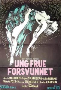 Filmplakaten til Ung Frue Forsvunnet av Edith Carlmar, fra 1953.
