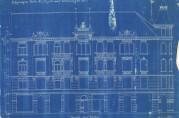 Fasadetegning av Veiten 7-11 tegnet av arkitekt Schak Bull i 1899 for byggmester Gjelvik. Huset brant ned i 1916, men ville i dag ha ligget midt i Markeveien. Kartsamling fra flere etater (A-0246).