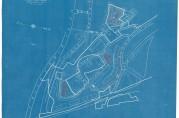 Situasjonskart over den nordligste delen av Krohnsminde med planlagte leiegårdskompleks tegnet inn med rødt. Boligrådet november 1919. Arkivet etter Rådmannen for 4.avdeling. (A-0511, E:6)