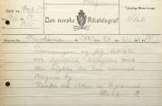 Deltagelsestelegram fra Slottet til ordføreren i Bergen sendt kl. 12.05 søndag 16. februar. Arkivet etter Hjelpekomiteen for brandlidte 1916. (A-1454, Ea:1)