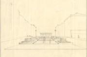 Skisse av Torgalmenningen som viser utformingen av gategulvet og avslutningen mot øst. Planene for gategulvet ble realisert, men de såkalte «badekarene» ble tidlig fjernet. Den triumfbuelignende bygningen ble erstattet av Sjømannsmonumentet. Arkivet etter Byggprosjektavdelingen (A-2695).