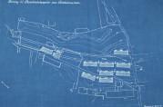 Forslag til barakbebyggelse på Bredalsmarken datert 20.11.1919. Blåkopi. Arkivet etter Rådmannen for 4.avdeling (A-0511, E:2).