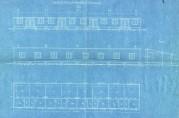 Forslag til arbeiderbarak/husvildebarak signert A/S K. Toftegård Lid. Fasade og grunnplan. Blåkopi. Arkivet etter Rådmannen for 4. avdeling (A-0511).