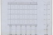 Arkitekt Finn Berners fasadeoppriss av Torgallmenningen 6, trolig fra 1922. Arkivet etter Reguleringsvesenet (A-0967, Hg:27)