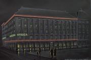 Vedlegg til søknad om skilt for Vesta Hygea sin bygning på Torgallmenningen merket Glassteknisk laboratorium AS. Arkivet etter Tilsynsrådet for byens utseende (A-0435, D:3).