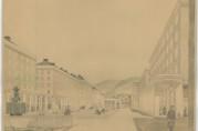 Akvarell av arkitekt Finn Berner som viser Torgalmenningen sett mot Fløyfjellet. I øst har Berner plassert en triumfbue og mot vest et Neptunmonument. Akvarellen er en omarbeidelse av en akvarell fra 1922 og bygningene har her fått overbygg. Arkivet etter Reguleringsvesenet. (A-0967, Ta:1)