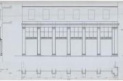 Fasadeoppriss av detaljer, utført av arkitekt Finn Berner. Arkitektene som tegnet bygningene langs Torgallmenningen måtte holde seg til Berners planer ved utformingen av fasadene. Arkivet etter Reguleringsvesenet (A-967, Hg:27).