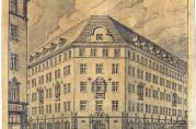 Perspektivtegning av Svaneapoteket. Dette er den bygningen som i størst grad ble reist i samsvar med bebyggelsesplanen for brannstrøket. Arkivet etter arkitektene Arnesen og Darre Kaarbø (A-2388).