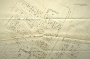 Tomtekart over brannstrøket. Utsnitt. Bergen Stadskonduktørkontor 10. november 1917. Arkivet etter Tomtefordelingskomiteen (A-0661, A-E)
