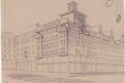 Tegning vedlagt byggemelding for Torgallmenning 1 fra 30. september 1936 signert arkitekt J. Munthe Bull. Byggherre var Johan Harbitz & Co. Byggesaken ble behandlet av bygningsinspektøren og Tilsynsrådet for byens utseende, og bl.a. måtte karnappene mot Torgallmenningen fjernes. Arkivet etter Bygningssjefen (A-430, Ha:2324)