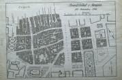 Kopi av kart over brannstrøket. Arkivet etter Reguleringsvesenet (A-0967, Eb:2).