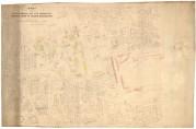 Kopi av kart over brannstrøket fra 1916 med inntegnede barakker. Kommunens barakker er merket med rødt og private barakker med gult. Kartsamling fra flere etater. (A- 0246, Ta:106.)
