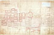 Reguleringsplanen for brannstrøket godkjent av departementet 19.januar 1917. De planlagte arkadene og gangpassasjene inngikk ikke i reguleringen. Kartsamling fra flere etater (A-0246, Ta:123).