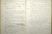 Referat fra møte i reguleringskommisjonen 26.oktober 1916. Reguleringsplanen ble vedtatt med unntak av området Peter Motzfeldtsgate - Marken - Lungegårdsgaten og Strømgaten. Arkivet etter Reguleringsvesenet (A-0967, Ab:11).