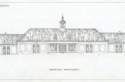 Fasadetegning av kommunal handelsbarakk i Strandgaten utført av boligarkitekt Jon Knudsen 1922. Arkivet etter Byggprosjektavdelingen (A-2695, Ta:160).