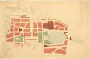 Udatert kart over brannstrøket hvor tomter bl.a. for offentlig formål er markert med lilla. Opprinnelig var det flere tomter som var reservert offentlig formål, men på grunn av den dårlige kommuneøkonomien ble disse solgt. Arkivet etter Reguleringsvesenet (A-0967, tilvekst u.nr., mappe merket C5)